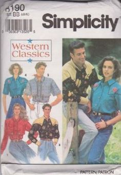 Misses, Men's Or Teen Boys Western Shirts Simplicity Sewing Pattern 8190 (Size BB: LG-XL)