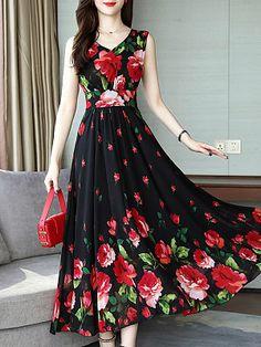 V Neck Floral Printed Maxi Dress - Cheap Dresses Polka Dot Maxi Dresses, Cheap Maxi Dresses, Cheap Dresses Online, Floral Dresses, Dress Online, Floral Maxi, Rent Dresses, Chiffon Maxi, Dress Silhouette