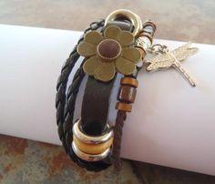 Retro Boho Leather Braided Multi Strand 4 Leaf Clover Wood Beads Adjustable F/S