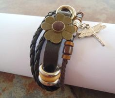 Retro Boho Leather Braided Multi Strand 4 Leaf Clover Wood Beads Adjustable F/S