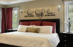 Bedroom Decor - Bedroom Wall Decal - Live Laugh Love Decal -  Bedroom Wall Decal-Inspirational Quote - Vinyl Wall Decal - Live Laugh Love by AmandasDesignDecals on Etsy https://www.etsy.com/listing/217718816/bedroom-decor-bedroom-wall-decal-live