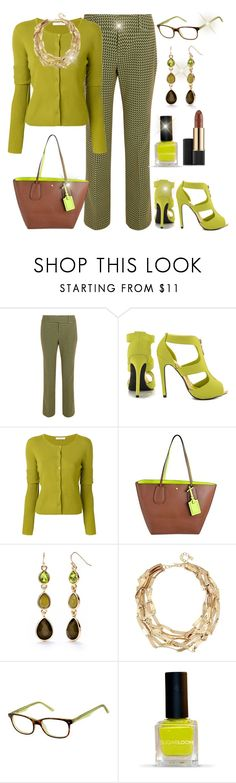 """""""Little Slice of Lime"""" by jfcheney ❤ liked on Polyvore featuring Marni, Qupid, Dorothee Schumacher, Coach, New Directions, Robert Lee Morris and Estée Lauder"""