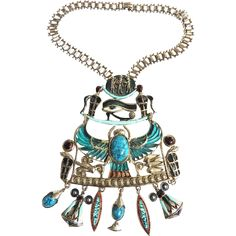 Egyptian Revival Dangling Charms Vintage  Breast Plate Necklace This item found at www.rubylane.com is currently listed to be on sale at 30% off for 48 hours starting 7/19/16 at 8am PDT #rubyredtagsale @rubylanecom