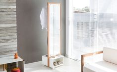 Arara Cabideiro Toucador Com Espelho Giratório Helsinque 46Cm Branco Com Jatobá