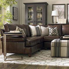 leather living room montague leather sectional living room by bassett furniture contemporary- living-room ZZWWIQS leather living room montague leather sectional living room - Mobilier de Salon Living Room Sectional, Cozy Living Rooms, New Living Room, Apartment Living, Living Room Decor, Brown Sectional, Leather Sectional Sofas, Sectional Furniture, Apartment Furniture