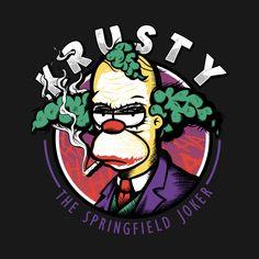 Krusty Joker T Shirt. Springfield's favorite clown depicted as Gotham's infamous villain. The Simpsons and Batman crossover. Simpsons Shirt, The Simpsons, Trippy Cartoon, Cartoon Art, Watch Cartoons, 90s Cartoons, Futurama, Krusty The Clown, Simpsons Drawings