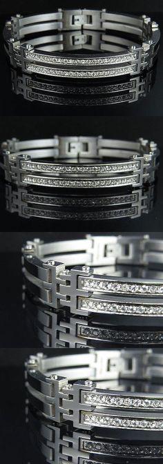Bracelets 137835: Mens White Gold Finish Bangle Bracelet Simulated Lab Diamond 9Mm 8.5 Inches -> BUY IT NOW ONLY: $69.99 on eBay!