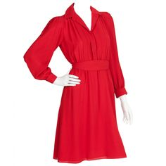 1980's Pierre Cardin Red Secretary Day Dress w/Channel Stitching Motif | From a collection of rare vintage day dresses at https://www.1stdibs.com/fashion/clothing/day-dresses/