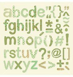 Textured alphabet set vector by yurumi on VectorStock®