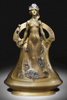 Figural vase.c.1900. Gilt and patinated bronze. 46 cm high.   Art by Charles Korschann.(1872-1943).