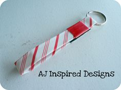 Candy Cane Stripe Duck Tape Keychain. This keychain is now available in my etsy shop. www.etsy.com/shop/AJInspiredDesigns   'Like' me on facebook to receive updates on new products! www.facebook.com/AJInspiredDesigns  $2.50