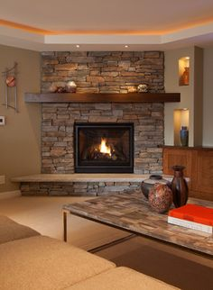 beautiful corner fireplace