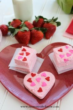 This Two Ingredient Strawberry Fudge recipe is perfect for Valentines Day!