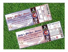 SALE right now through end of October! Congrats on your division win Cubbies! Use coupon code CUBS16 to get $3 off!!  Chicago Cubs Inspired MLB Baseball Ticket Baby Shower Invitation by BaseballGirls on Etsy