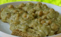 Garbanzo Bean Gravy over Yeast-Free Country Bread. Gravy and bread are vegan, gravy is also gluten-free.