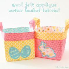 Wool Felt Applique  Easter Basket