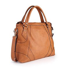 Women HandbagWomen Bag Shoulder Bag KINGH Vintage Tote Bags PU Leather Camel -- Read more reviews of the product by visiting the link on the image.