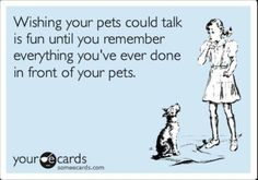 Wishing your pets could talk is fun until you remember everything you've ever done in front of your pets.