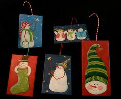 mini canvas ornaments by GinnyDiezelStudios, via Flickr Small Canvas Art, Mini Canvas Art, Small Art, Christmas Projects, Christmas Art, Holiday Crafts, Diy Xmas Ornaments, Christmas Tree Decorations, Xmas Drawing