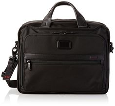 Tumi Alpha 2 Organizer Brief, Black, One Size. Large front U-zip pocket with interior organizer pockets, ticket pocket, back zip pocket, back open pocket. Add-a-Bag sleeve, embossed leather carry handles. Removable/adjustable articulating shoulder strap,. Padded computer compartment with removable foam blocks, Tumi ID lock zip pocket. Padded tablet pocket, open pockets, elastic pockets, card pockets, pen loops and key leash.
