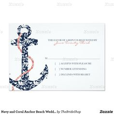 Navy and Coral Anchor Beach Wedding rsvp 3.5x5 Paper Invitation Card