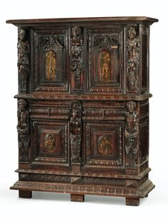 A WALNUT CABINET IN THE MANNER OF HUGUES SAMBIN, SECOND HALF OF 16TH CENTURY
