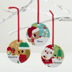 Kids Ornaments: Colorful Personalized Ornaments - Personalized Rudolph Ornament. These cheery ornaments are sure to put a smile on anyone's face. Especially when you order them personalized with a name. Choose from Rudolph, Santa or Bird and Squirrel designs. Details, details - Nod exclusive - An Amy Blay design - Each ornament features a charming pattern on back - Porcelain ornaments can be personalized with name up to 12 letters - Includes a red grosgrain ribbon for hanging Show 'em what…