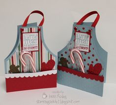 MERRY CHRISTMAS APRON - Easy to make, cut two even curves on the card using a round plate.  Stripes paper is from scrapebooking paper.  The rest is easily seen....Replace the saying for something that you like....