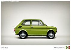 Firstcar Illustrations | Personalized Car Illustrations | Fiat 126 1974