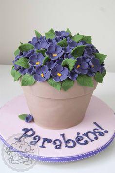 Flower pot cake ! Bolo pote de flores!