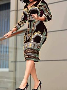 Mid-Calf Three-Quarter Sleeve V-Neck Patchwork Bodycon Womens Dress online shopping mall, buying fashion dresses rapid delivery. Start your amazing deals with big discounts! African Wear Dresses, Latest African Fashion Dresses, African Print Fashion, African Attire, Latest Fashion, Fashion Today, Look Blazer, Geometric Dress, Classy Dress