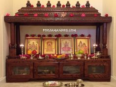 Take a cue from these wooden pooja mandir designs and buy one for your home. You can even pick a nice pooja mandir from here and place an online order. Temple Design For Home, Home Temple, Mandir Design, Pooja Room Door Design, Puja Room, Indian Homes, Prayer Room, Indian Home Decor, Living Room Decor