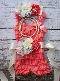 Coral Lace Romper Set,Romper and Sash,Vintage Sash,,Petti Romper Set,Flower Girl,Wedding,Sash,Infant Outfit,1st Birthday,Vintage Headband