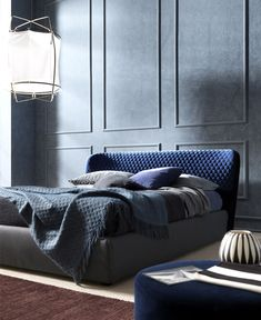 Furniture Design Double Bed double #bed with upholstered headboard basket plus - @bonaldo