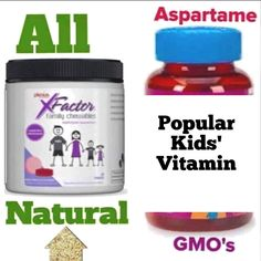 Check the label of your children's multivitamins. I was shocked when I saw aspartame listed on ours! Thank goodness for Plexus' XFactor Family Chewables! #health #wellness #children