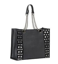 Rock-Rebel-Avery-Handbag-Purse-Black-with-Studs-and-Chain-Handles