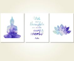 yoga quote budha art blue download by SunnyRainFactory on Etsy
