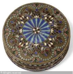 Russian Pill Box - silver gilt and cloisonne enamel