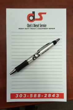 #promotionalproducts #promos #promoproducts #promotionaliteams #tradeshows #tradeshowswag #SignaramaColorado #Signs #colorado Promotion pens and notepades for Chris's Diesel Service