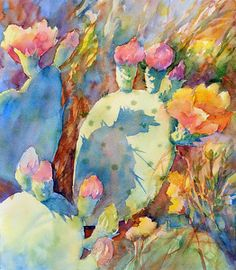 Watercolor painting_CACTUS MORNING SHADOWS_Mary Shepard original of Texas prickly pear in spring with morning shadows_high key painting with luminous transparent colors_ on 13 x 16 Arches watercolor paper.    www.maryshepard.com.