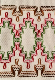 Huck Weaving or Swedish Embroidery Swedish Embroidery, Towel Embroidery, Hand Embroidery Designs, Cross Stitch Embroidery, Huck Towels, Swedish Weaving Patterns, Monks Cloth, Diy Crafts How To Make, Adult Crafts