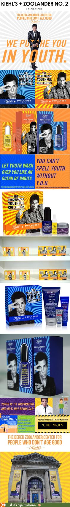 Brilliant co-op marketing. Kiehl's + Zoolander launch the Center For People Who Don't Age Good with great branding, product packaging and website. See more at if it's hip, it's here