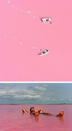 세네갈 Lake Retba, Senegal or as the French refer to it Lac Rose, is pinker than any milkshake you've ever come face to straw with. Experts say the lake gives off its pink hue due to cyanobacteria, a harmless halophilic bacteria found in the water. Lake Retba also has a high salt content, much like that of the Dead Sea, allowing people to float effortlessly in the massive pink water.