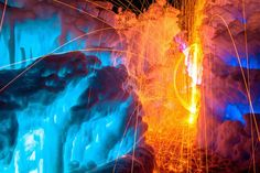 Magical Fire and Ice Castle  It's at Midway Ice Castles located in Utah that photographer Sam Scholes has captured these exquisite images. Thanks to a long exposure technique, Sam Scholes has photographed fire moves inside this ice empire, producing a stunning and colorful fireworks.