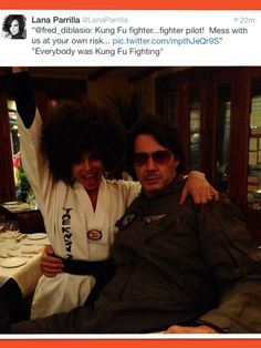 """Lana Parrilla and Fred Di Blasio on Twitter Halloween 10-31-2013 """"Everybody was Kung Fu Fighting"""""""