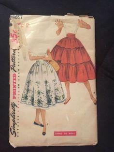 Original-Simplicity-1950s-Teen-Cummberbund-SKIRT-Sewing-Pattern-WAIST-25-Hip-34