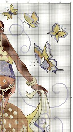 0 point de croix femme africaine, antilope et papillons - cross stitch african girl, antelope and butterflies 3