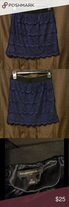 """Banana Republic lace skirt Banan Republic lace skirt, blue and black. Great condition, 16"""" length, elastic waist. Super cute for date night! Banana Republic Skirts"""