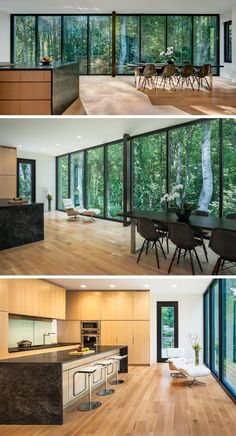 A wall of windows creates a natural backdrop for this large multi-use room. In the kitchen, light wood cabinets have been contemporary with dark stone countertops for a contemporary look. #Kitchen #KitchenDesign #DiningRoom #kitcheninteriordesignwood #futuristicfurniture #contemporarykitchens