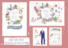 Colourful, hand-drawn, bright illustrated wedding stationery, from The Story House.